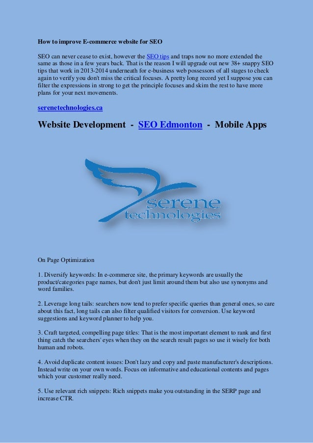 How to improve E-commerce website for SEO SEO can never cease to exist, however the SEO tips and traps now no more extende...