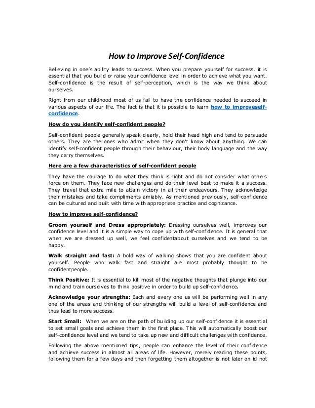 How to improve self confidence