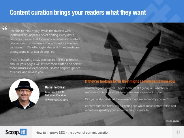 How to improve SEO - the power of content curation 17 Content curation brings your readers what they want It's time to thi...