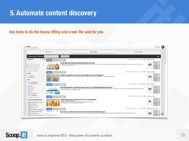 How to improve SEO - the power of content curation 28 5. Automate content discovery Use tools to do the heavy-lifting and ...