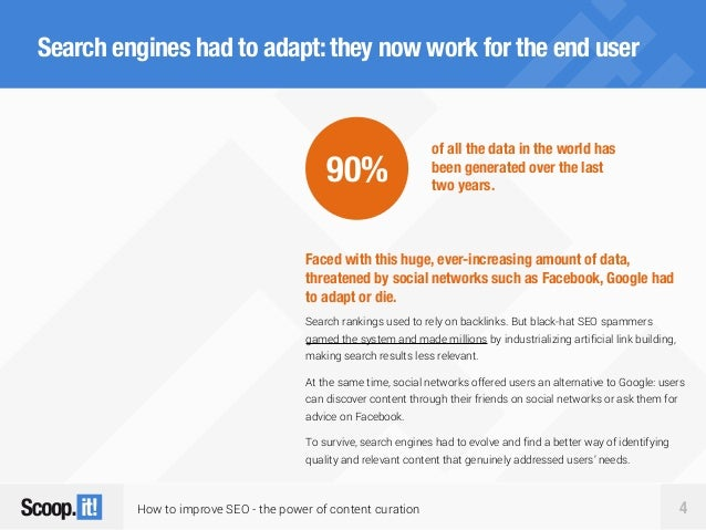 How to improve SEO - the power of content curation 4 Search engines had to adapt:they now work for the end user Faced with...