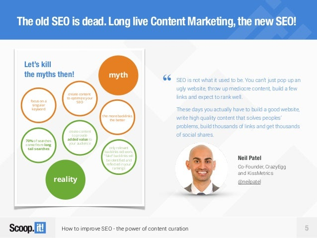 How to improve SEO - the power of content curation 5 The old SEO is dead.Long live Content Marketing,the new SEO! Let's ki...