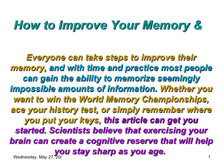 How Can U Improve Your Memory