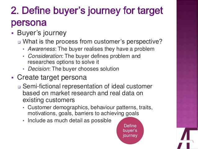 ▪ Buyer's journey ❑ What is the process from customer's perspective? • Awareness: The buyer realises they have a problem •...