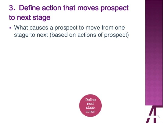 ▪ What causes a prospect to move from one stage to next (based on actions of prospect) Define next stage action
