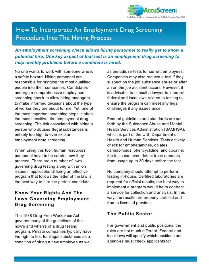 I nvestor Newslette r How To Incorporate An Employment Drug Screening Procedure Into The Hiring Process An employment scre...
