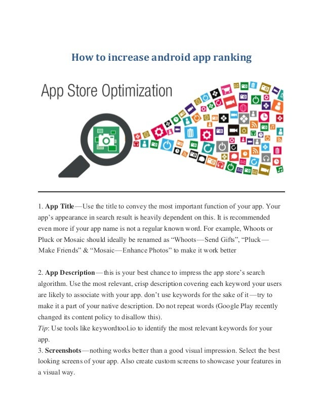 How to increase android app ranking