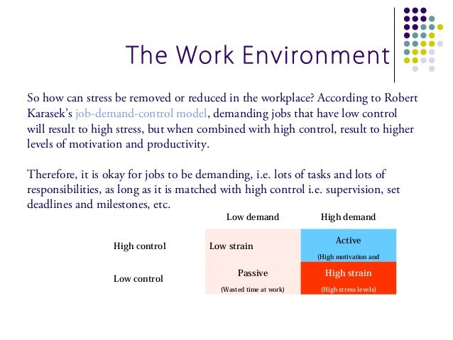 The Work EnvironmentSo how can stress be removed or reduced in the workplace? According to RobertKarasek's job-demand-cont...