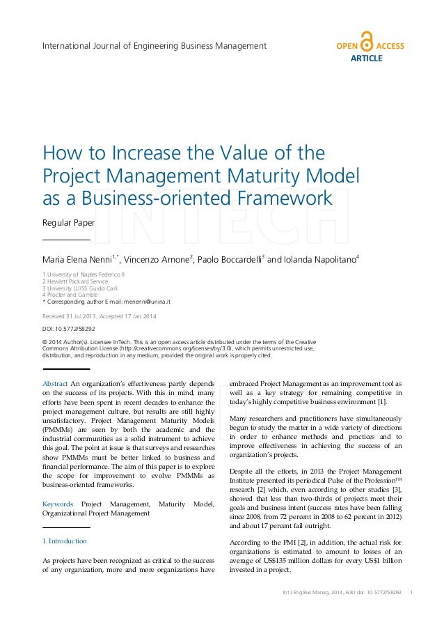 How to Increase the Value of the Project Management Maturity Model as a Business-oriented Framework Regular Paper Maria El...
