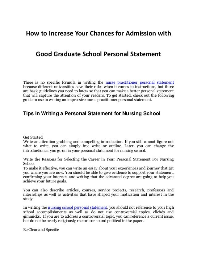 Tips In Increasing Your Chances For Admission An Impressive Nurs Nurse  Practitioner Personal Statement How To. New Cover Letter ...