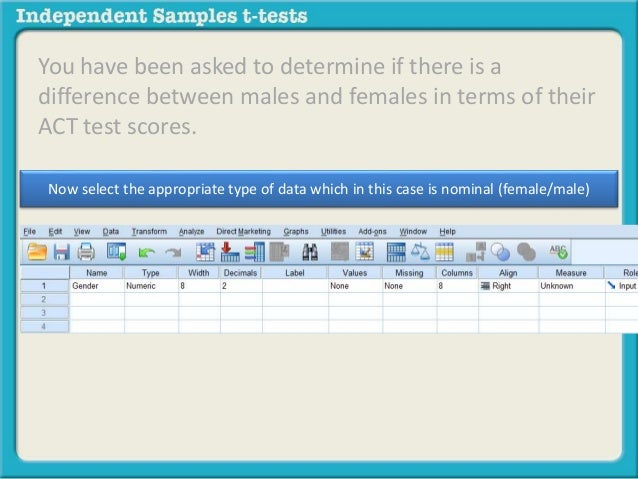 How to input data in spss for independent samples t tests