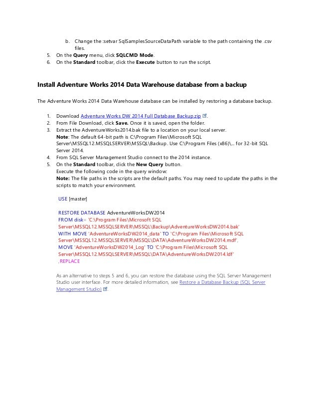 How to install adventure works 2014 sample databases