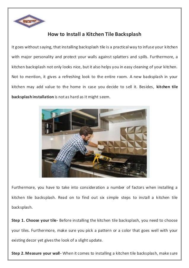 How To Install A Kitchen Tile Backsplash
