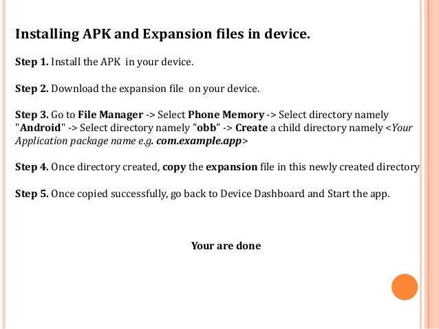 How to install APK and Expansion file in android