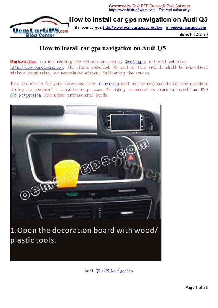 how to install car gps navigation on audi q5 rh slideshare net Audi A6 Navigation BMW Navigation