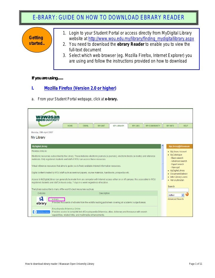 E-BRARY: GUIDE ON HOW TO DOWNLOAD EBRARY READER                                    1. Login to your Student Portal or acce...