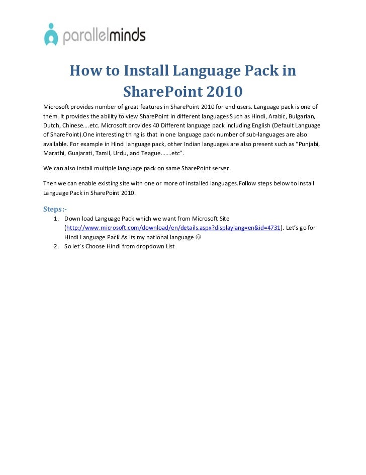 how to install language pack