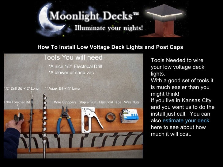 how to install low voltage deck lights and post caps