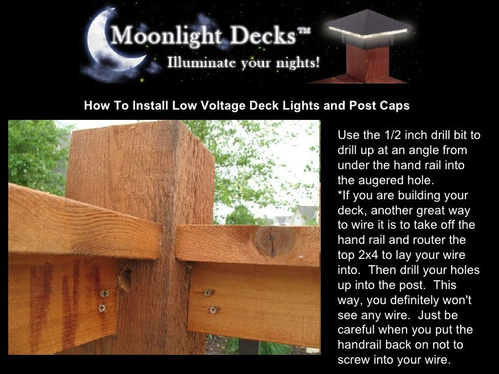 5. How To Install Low Voltage Deck Lights ...  sc 1 st  SlideShare & how-to-install-low-voltage-deck-lights-and-post-caps-5-728.jpg?cbu003d1233618324 azcodes.com