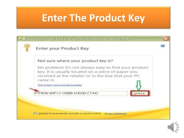 enter your product key 2010