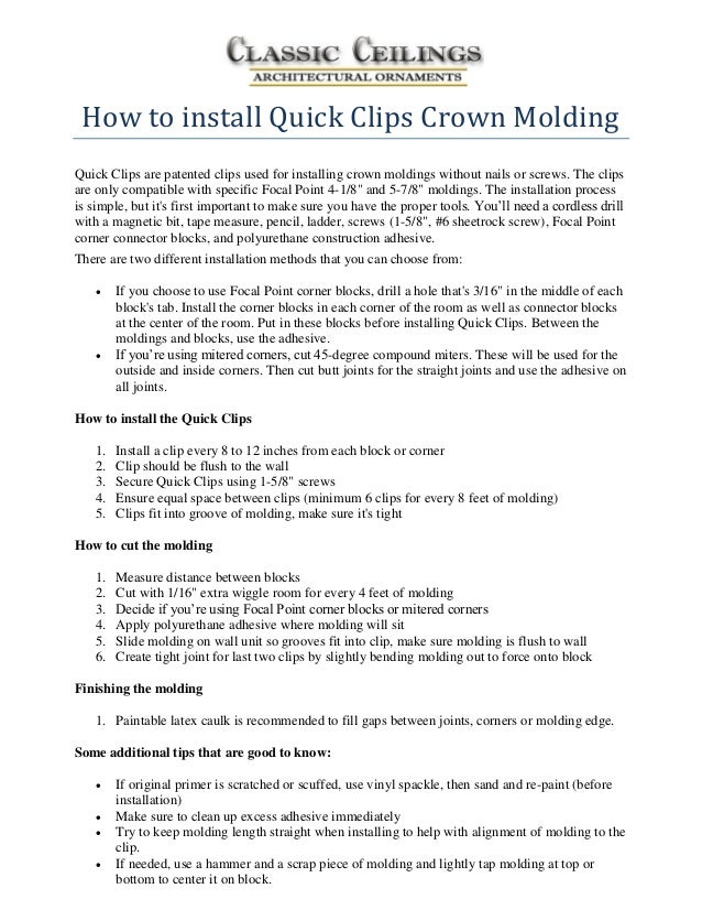 How to install quick clips crown molding