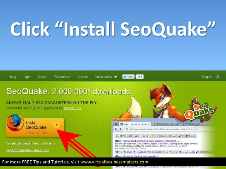 How to install SEO Quake in Firefox Browser