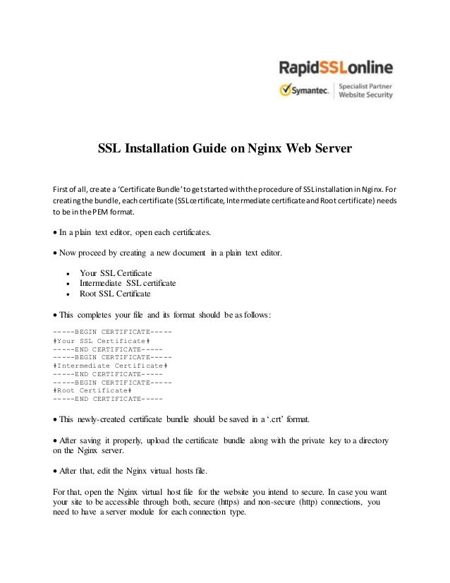 How To Install Ssl Certificate In Nginx Guide