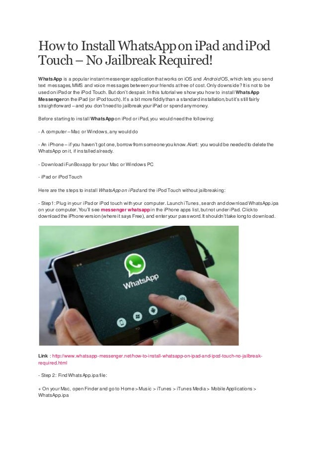 How to install whats app on ipad and ipod touch
