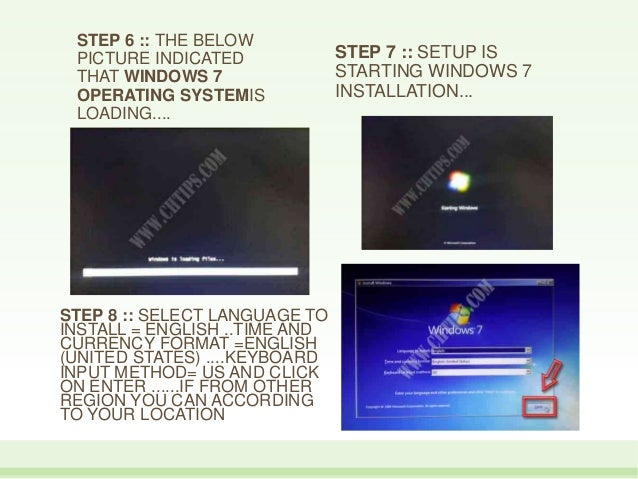 STEP 6 :: THE BELOW PICTURE INDICATED THAT WINDOWS 7 OPERATING SYSTEMIS LOADING.... STEP 7 :: SETUP IS STARTING WINDOWS 7 ...