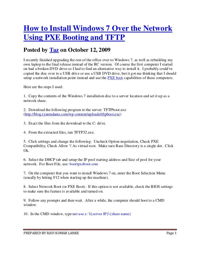 How to install windows 7 over the network using pxe booting and tftp