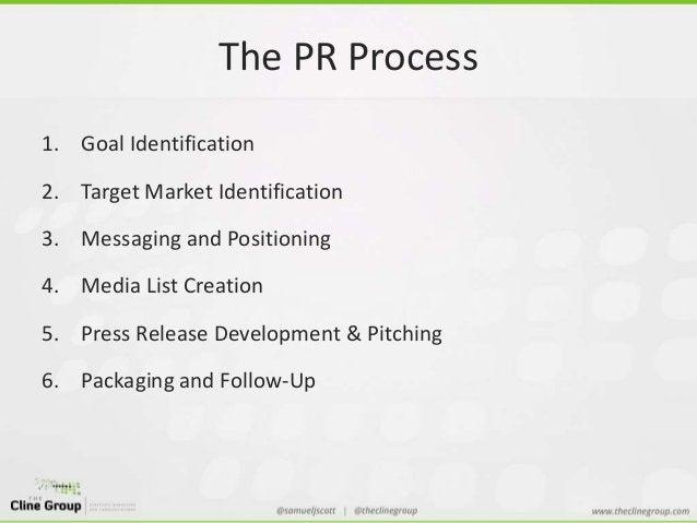 The PR Process  1. Goal Identification  2. Target Market Identification  3. Messaging and Positioning  4. Media List Creat...