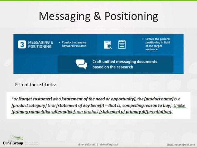 Messaging & Positioning  Fill out these blanks: