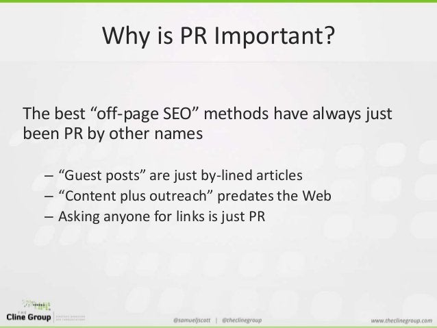 """Why is PR Important?  The best """"off-page SEO"""" methods have always just  been PR by other names  – """"Guest posts"""" are just b..."""