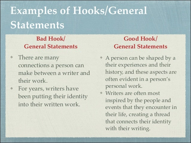 creating good hooks essays Any help writing an essay to make a college: try this the hook: scene  transitions in classical cinema i need to write an essay about love and  friendship.