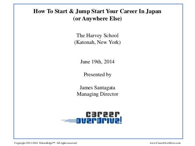 How To Start & Jump Start Your Career In Japan (or Anywhere Else) The Harvey School (Katonah, New York) June 19th, 2014 Pr...