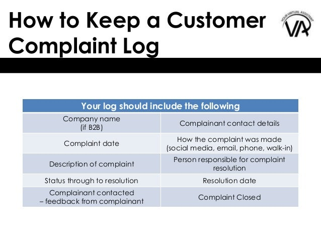 teaching employees 18 how to keep a customer complaint log