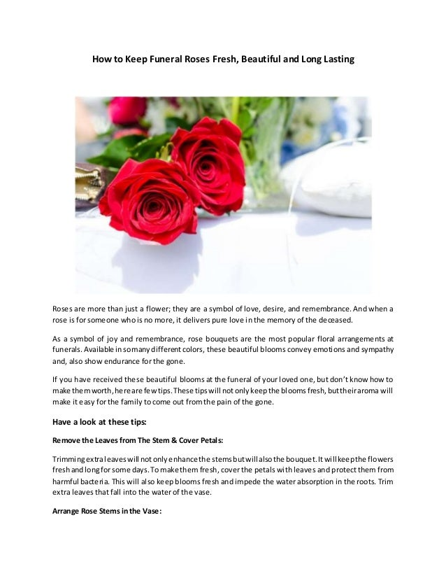 How to keep funeral roses fresh