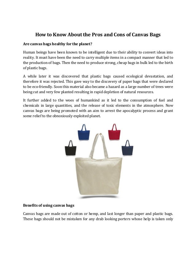 59101be4273 How to Know About the Pros and Cons of Canvas Bags Are canvas bags healthy  for ...