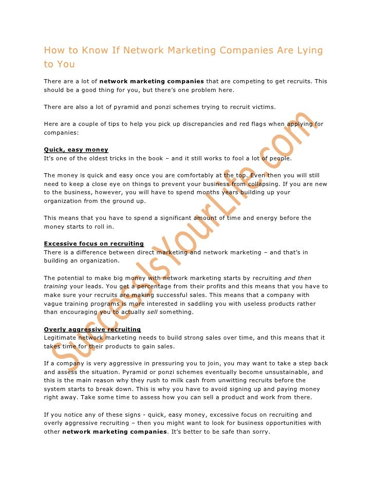 How to Know If Network Marketing Companies Are Lying to You<br />There are a lot of network marketing companies that are c...