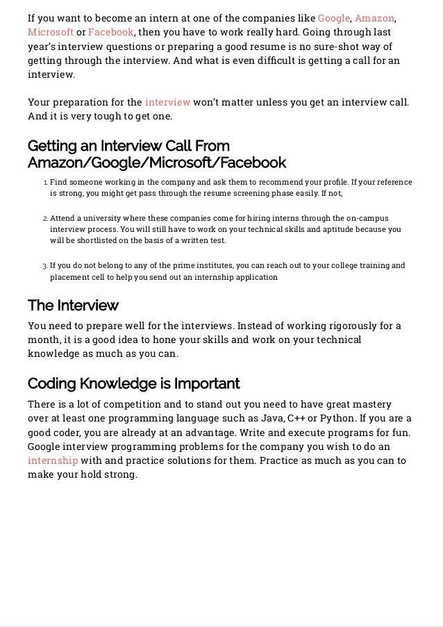 How to Land an Internship at Google, Amazon, Microsoft and