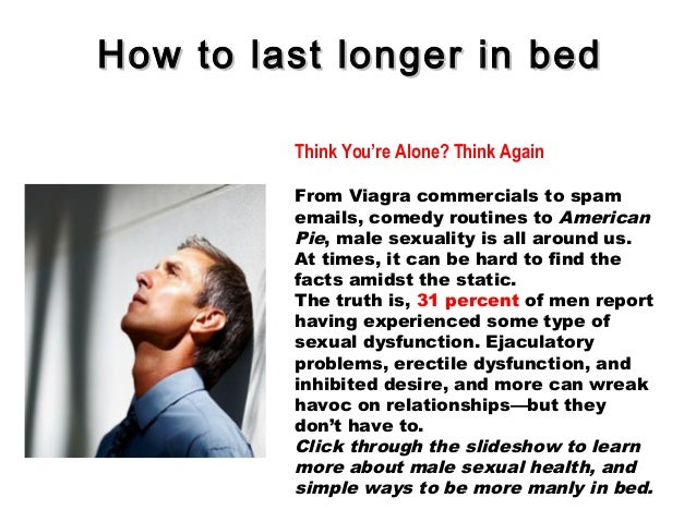 How Can I Last Longer In Bed