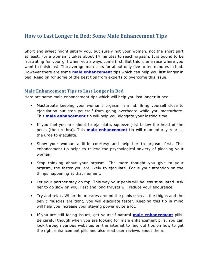 Tips For Long Lasting In Bed