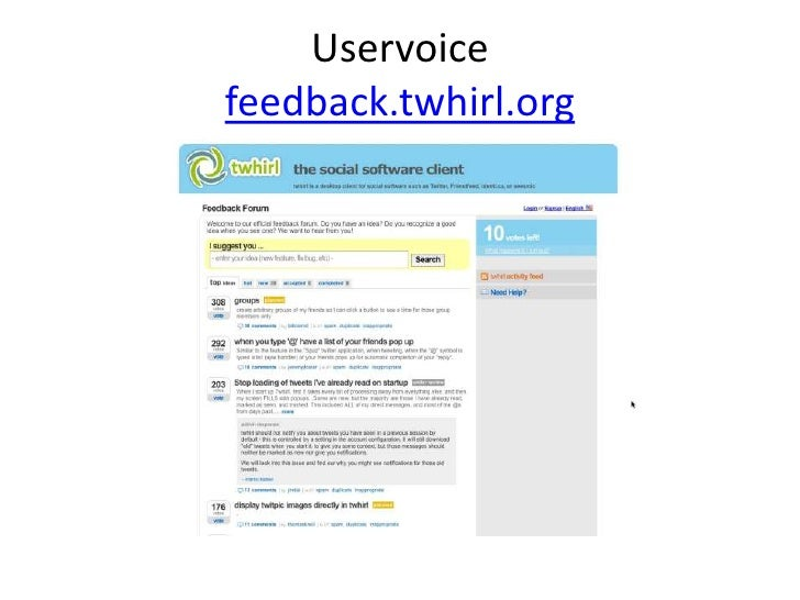 Uservoice feedback.twhirl.org