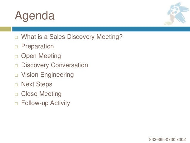 Agenda  What Is A Sales Discovery Meeting?