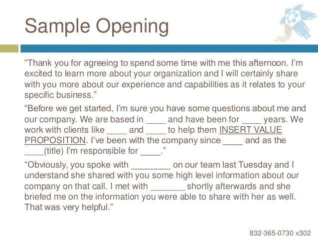 How to lead a discovery meeting sample opening thank you expocarfo Images