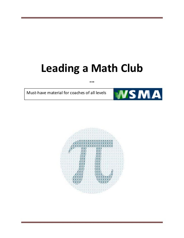 Leading a Math Club                                  ***Must-have material for coaches of all levels