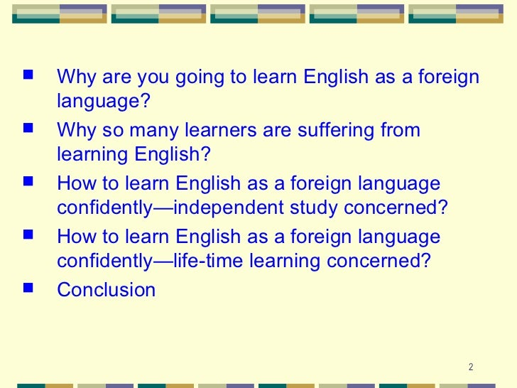 Conclusion learn english language