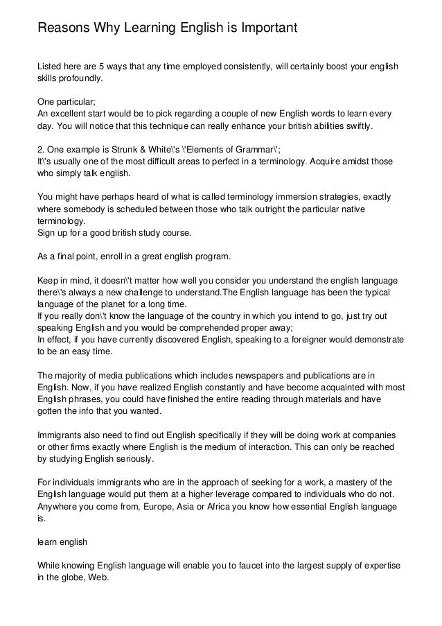 Science Essay Topic  Example Of A Thesis Statement For An Essay also Persuasive Essay Thesis Examples Essay Why It Is Important To Learn English English Is My Second Language Essay