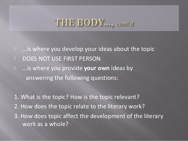 the literary thesis Choosing a general thesis topic is relatively easy, but deciding on specific and realistic research questions requires considerable thought and enquiry appropriate and relevant research questions and the methods employed to answer them must be framed in the context of existing research the dissertation literature review.