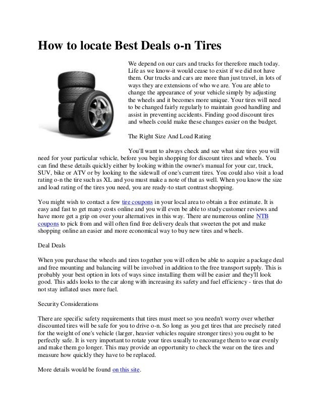 Deals On Tires >> How To Locate Best Deals On Tires